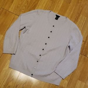 Theory dove gray cashmere cableknit cardigan
